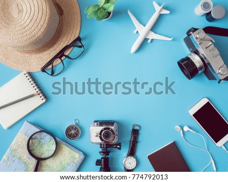 top view travel concept with...