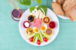 top view turkish breakfast tea and bread on green table - kahvalti tabagi