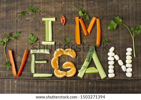Top view vegan arrangement with healthy food #1503271394