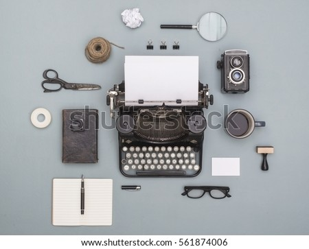 top view vintage old typewriter objects cloud - Shutterstock ID 561874006