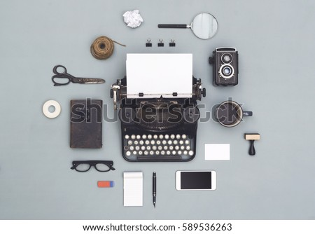 top view vintage old typewriter objects cloud Сток-фото ©
