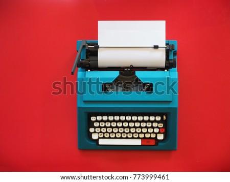top view vintage typewriter on...