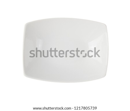 Top view white dish for food isolated on white background