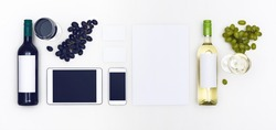 top view wine seller corporate identity template