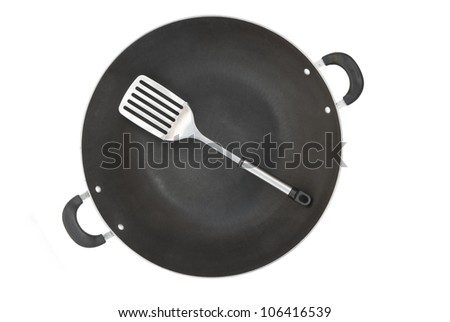 top view wok and spatula with clipping path