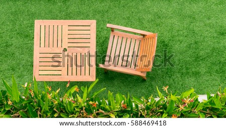 Top View Wood Table And Chair On Grass 588469418