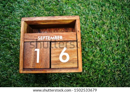 Top view Wooden calendar on September 16 on a green grass background.World ozone day. #1502533679
