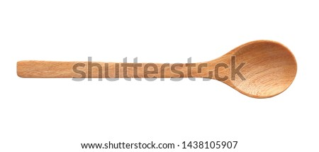 Top view Wooden spoon isolated on white background clipping path.