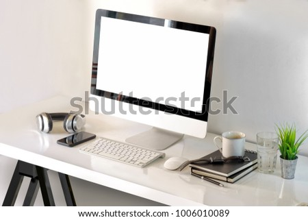 Top View Workspace Mockup Desktop Computer Coffee Mug And Designer Mesmerizing Designer Office Supplies