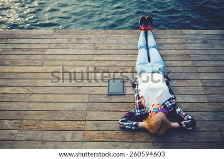 top view young woman lying on a ...