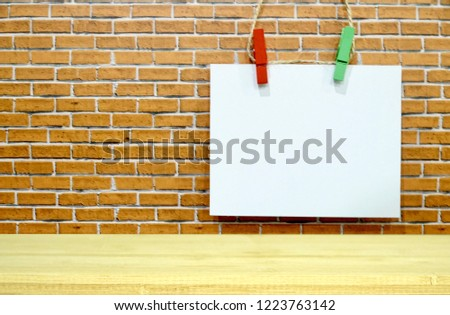 Blank White Paper On Wood Shelf And Wooden Background Images