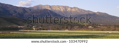 Topa Topa Bluffs overlooking ranches in Upper Ojai Valley, California