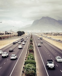 Topdown view of a highway  in Cape Town, South Africa