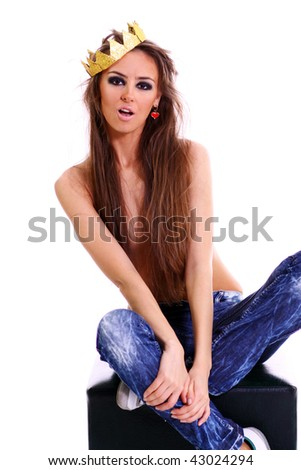 topless girl in a blue jeans