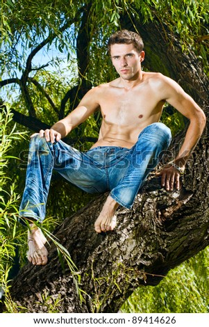 Topless male model in jeans trousers sitting tree, outdoor shot