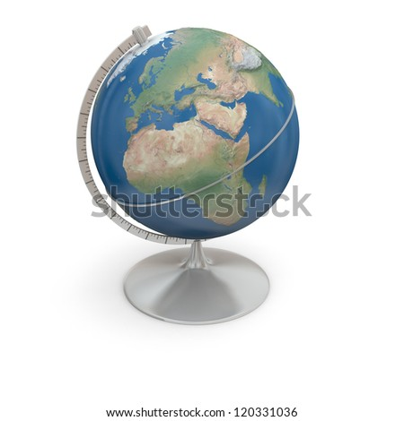 Topographic globe with realistic surface isolated on white background. Elements of this image furnished by NASA