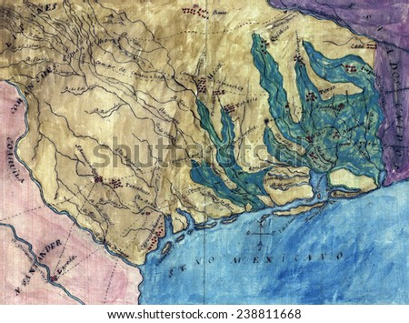 Topographic map of the Province of Texas. Stephen F. Austin\'s hand-drawn map of the Spanish Province of Texas. 1822