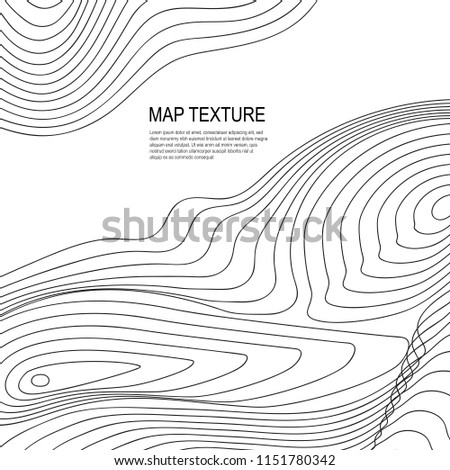 Topographical raster background with place for text. Geodesy contouring map texture with line contours of terrain. Geographic relief mountains landscape. Topography and cartography pattern