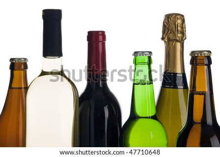 tops of six beer, wine and champagne bottles #47710648