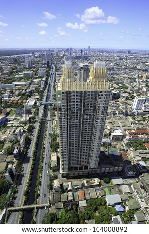 Topview city landscape in Bangkok of Thailand