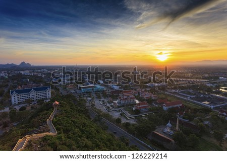 Topview cityscape sunset in Thailand