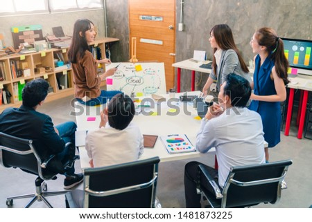 topview of creative agency business brain storm meeting presentation Team discussing roadmap to product launch, presentation, planning, strategy, new business development #1481873225