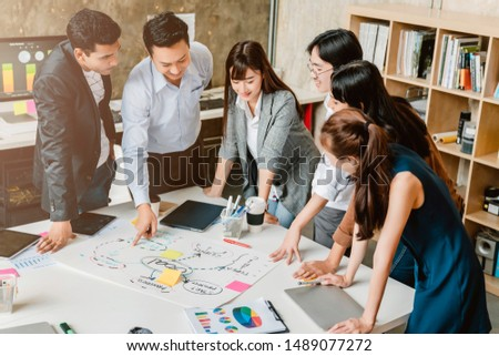 topview of creative agency business brain storm meeting presentation Team discussing roadmap to product launch, presentation, planning, strategy, new business development #1489077272