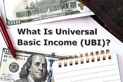 Topview photo on Universal Basic Income theme. The question