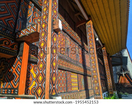 Toraja house with wood carving ornament Photo stock ©