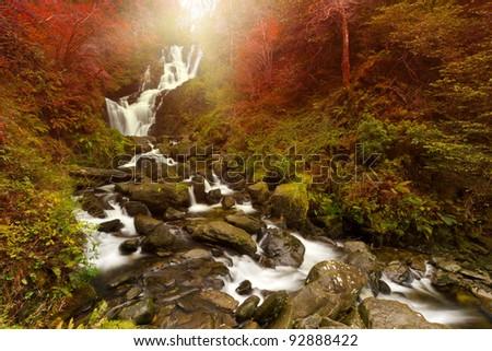 Torc waterfall at autumn in Killarney National Park, Ireland