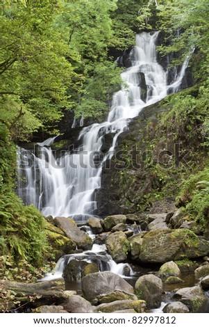 Torc waterfall in National Park Killarney, Ireland. - stock photo