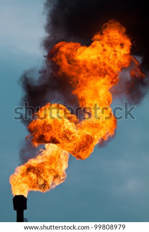 Torches for casing-head gas flaring during oil, Russia