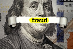 Torn bills revealing Fraud words. Ideas for Election and voting rights in United States, Money and Taxes