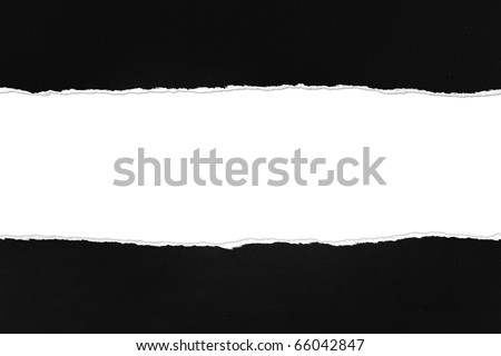 Torn black Paper with space for text on white background