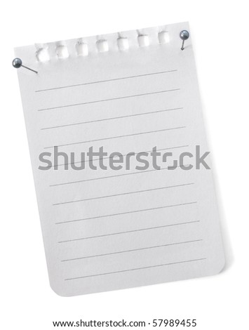 Torn blank notepaper, with pearl-headed pins, ready for your message.