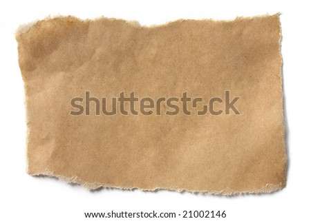 Torn brown paper casting natural shadow on white.