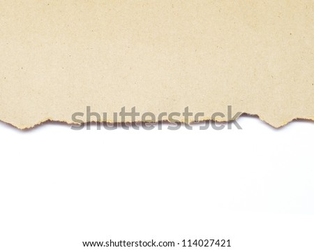 torn brown recycle paper isolated on white background