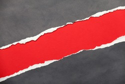 Torn edge textured paper with red space for your message