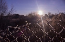 Torn fence of metal mesh covered with frost. The sun shines early in the morning on the frozen grid. The concept of freedom behind a frozen metal mesh that has been ripped. Cold winter morning.