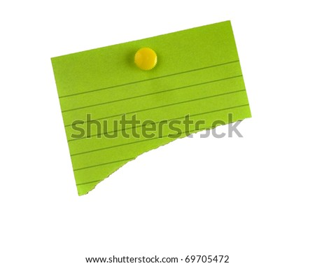 Torn green paper on isolated white background for copy-space