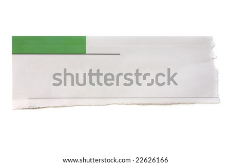 Torn newspaper banner, ready for your message.
