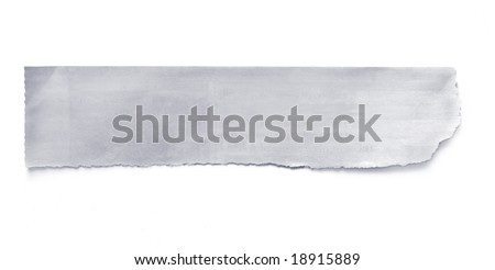 Torn newspaper banner, ready for your message.  Isolated on white with natural shadow.