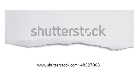 Torn paper banner, isolated on white with soft shadow.