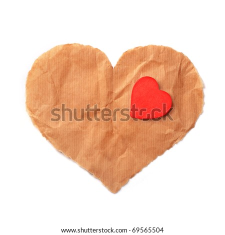 Torn paper heart, isolated - stock photo