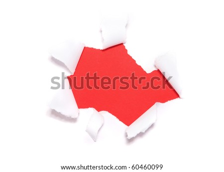 Torn paper hole over red background.