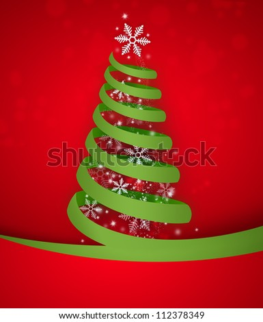 Torn paper in the shape of Christmas tree. Modern Christmas background