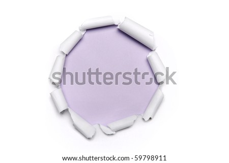 Torn Paper in the shape of the circle with violet background
