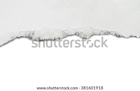 Torn paper, isolated on white background. Copy space #381601918