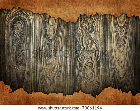 torn paper on wood - stock photo