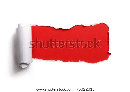 Torn paper over a blank red background for message